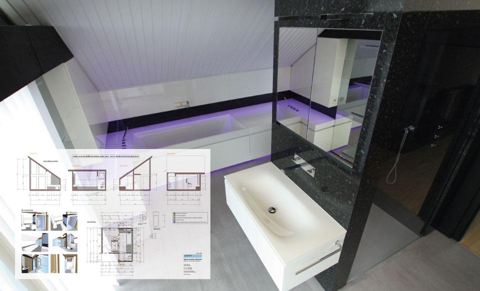 Planung von Badplaner eines Designbades in Duesseldorf Kaarst