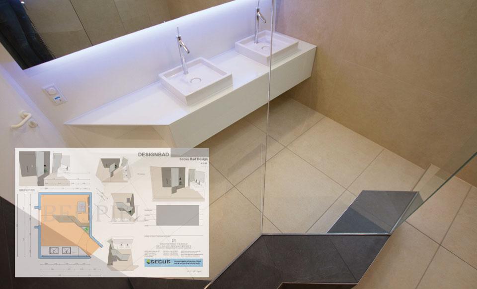Planung von Badplaner Duesseldorf eines Designbades in Neuss