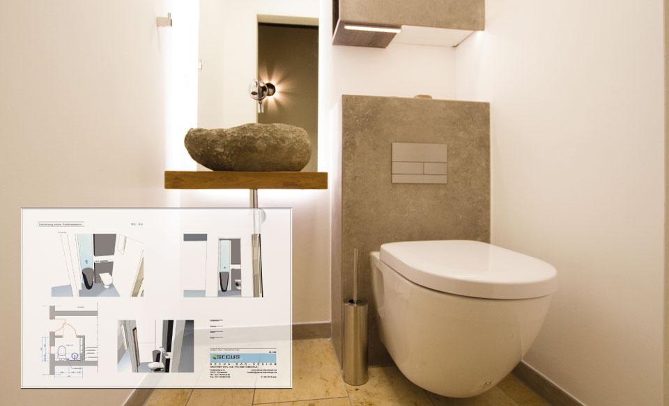 Planung von Badplaner eines Designbad Gäste WC in Duesseldorf Knittkuhl